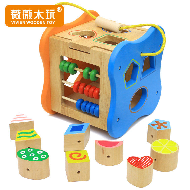 Multifunctional box Wooden Blocks shape matching the shape of children's educational toys early childhood color digital