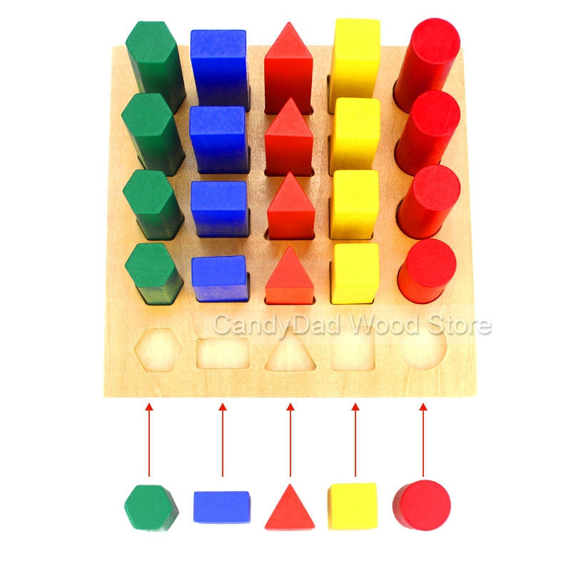 Baby Toy Wooden Building Block Chopping Montessori Education Geometric Assembling Blocks Multicolor Assembling Montessori Toy