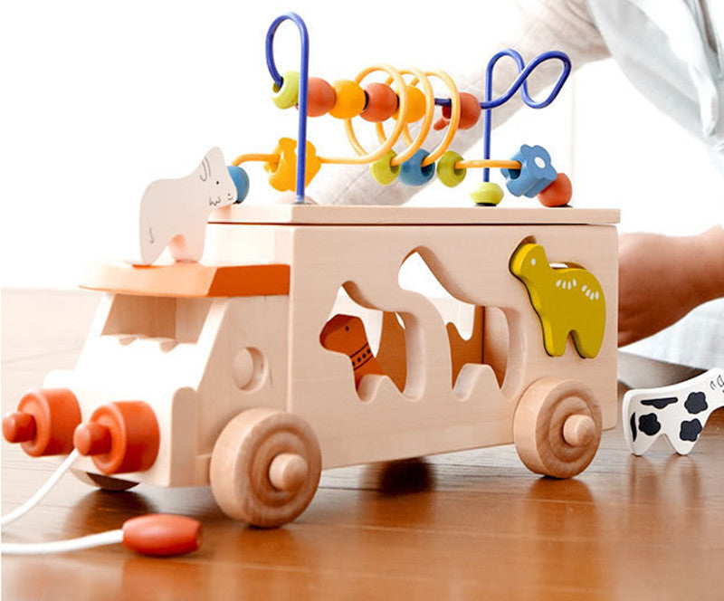 New wooden toy Animal bus shape matching blocks around the bead car baby pull toys car baby toy Free shipping