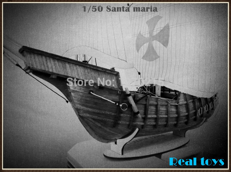 Classic wooden scale sailing ship wood scale boat 1/50 SANTA MARIA scale assembly sailing model ship kits wooden sailing kits