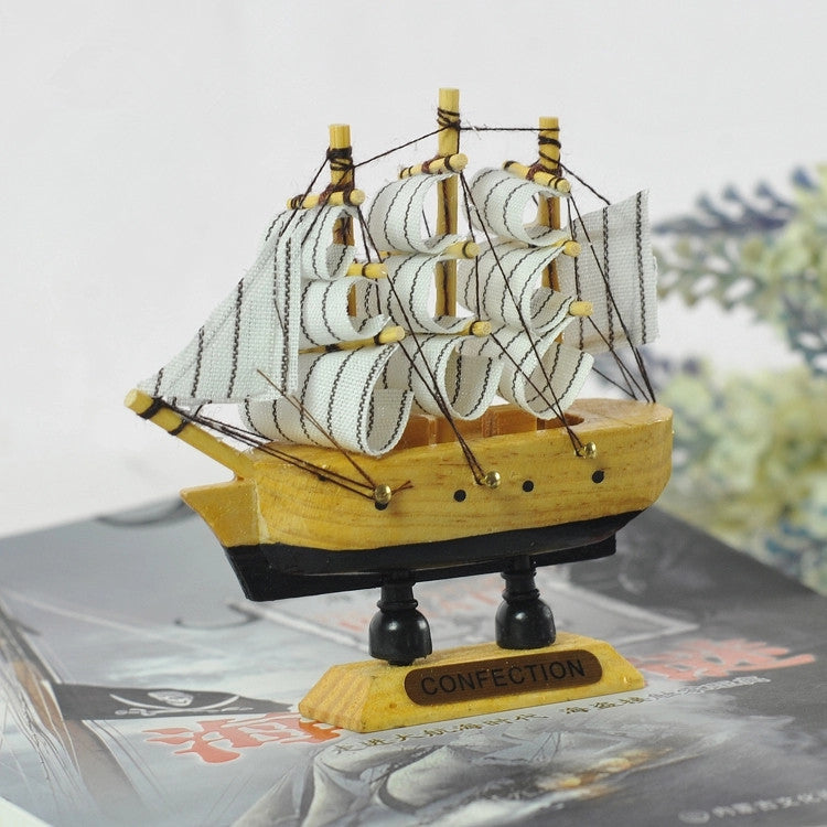 10CM Wooden Sailing Ship 1PC Mediterranean style Handmade Boat Model Shop Home Nautical Decoration Crafts Gift
