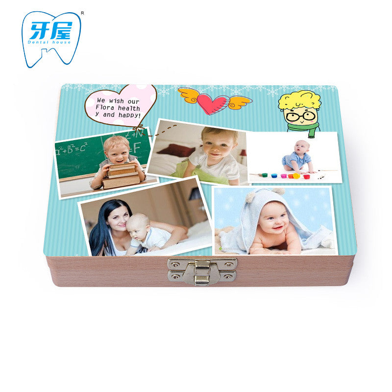 Photo customs! DIY baby teeth box  print  save Milk teeth Wood storage gift box for kids montessori eucation  toys Square lock