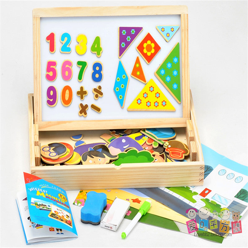 108pcs Drawing Toys Set with magnetic 2-sides drawable Number Learning Educational Soft Montessori children intelligent creative