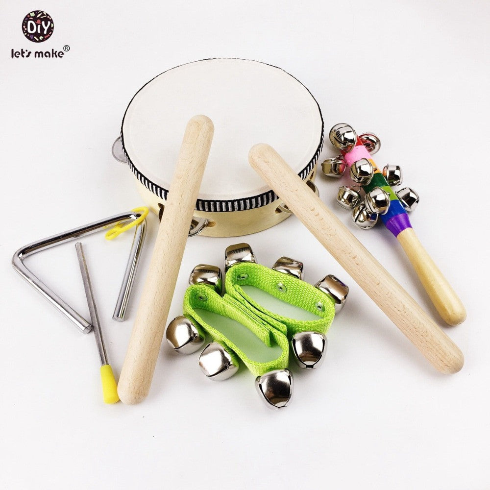 8pcs Baby Montessori Toys Wooden Drum Rattles Bell Children Toys Gift