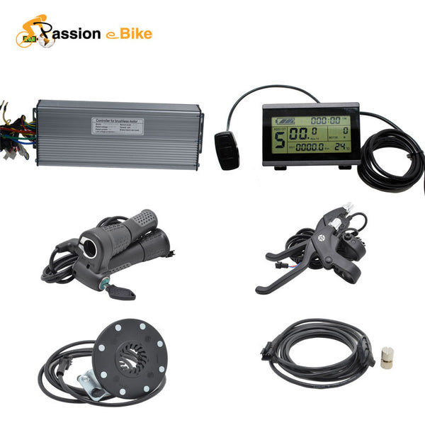 48V 1500W Electric Bicycle Electric Components Parts for 1500W Controller LCD Display Twist Throttle Brake Lever PAS