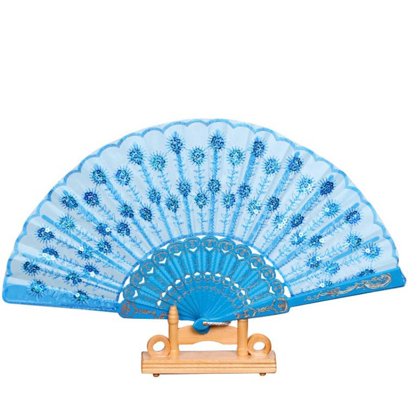 Arrive Summer Women Girl Dancing Fan Elegant Plum peacock Flower Print Folding Hand Fans Hot Sale