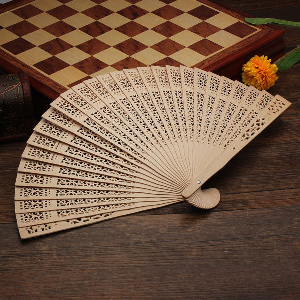 On Sale Vintage Style Chinese Folding Hand Fan Summer Bamboo Fragrant Wooden Hollow Art Carved Wedding Dancing Party Decor