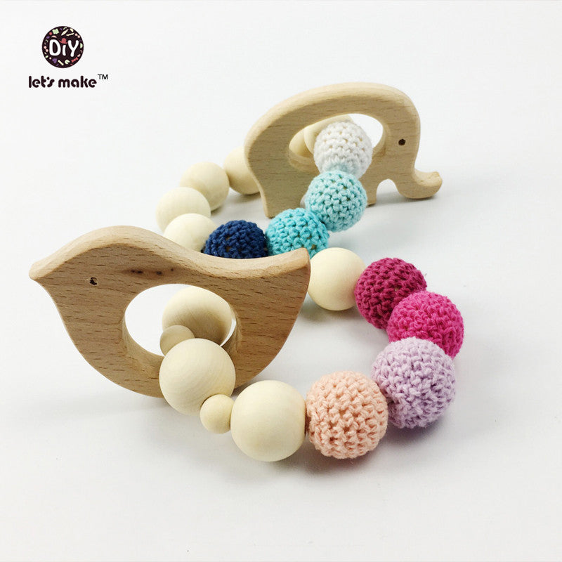 Wooden Teether Toy Bird Elephant Set Nursing Necklace Wood Bead Teething Bracelet Organic Wood Baby Mom Kids Heart 2pcs/lot