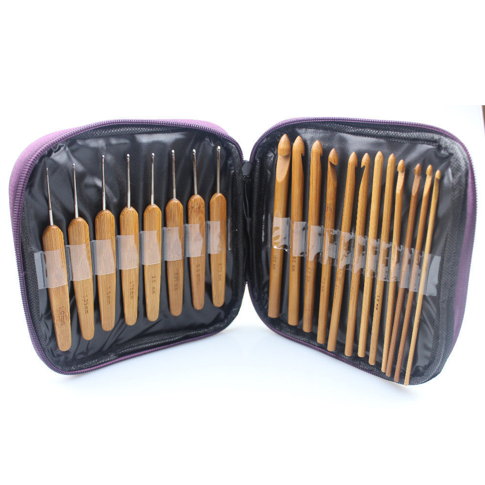 2016 New 2 in 1 2.0mm-10mm 20Pcs Bamboo Crochet Hooks Knitting Weave Needles tool Set with Case bag Embroidery