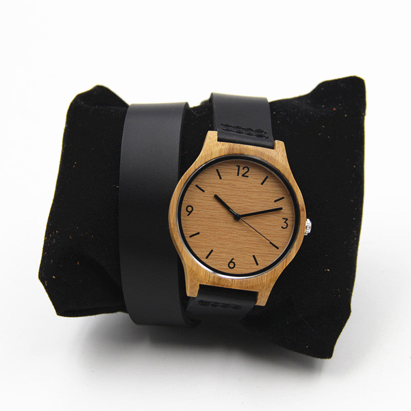 100% Natural Retro Bamboo Wooden Watch For Women's Gift With Long Genuine Leather Straps  Round Janpen Quartz  Movement
