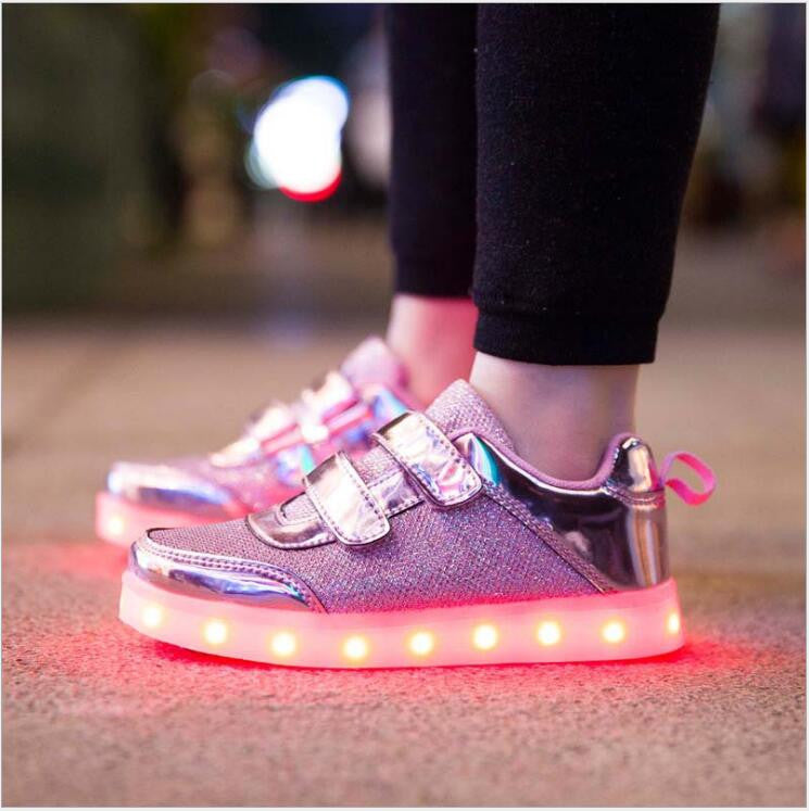 8 Color Kids Sneakers Fashion Charging Luminous Lighted Colorful LED lights Children Shoes Casual Flat Girls Boy Shoes Eur28-35