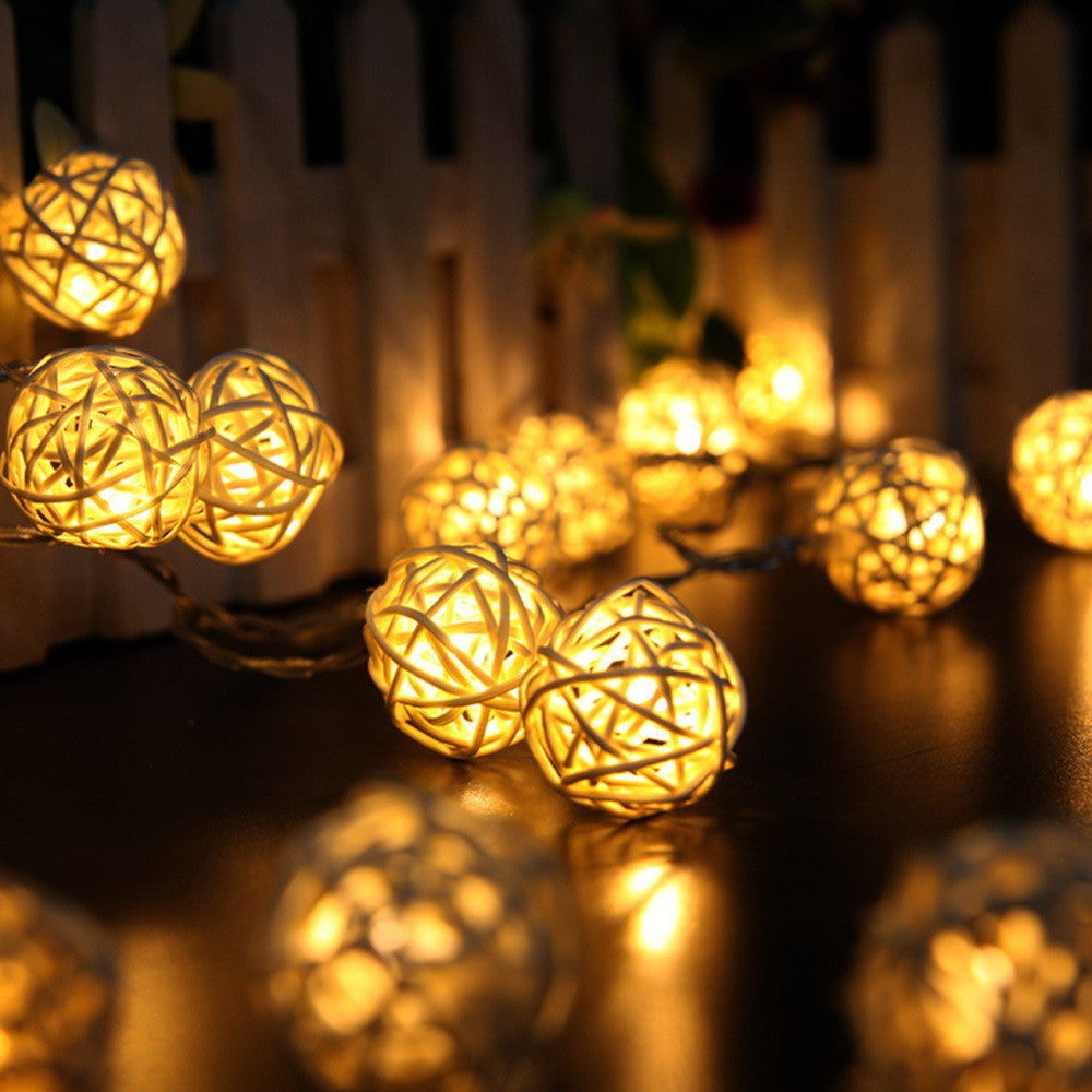 2M 20 LED White/ Warm White AC110V-125V Rattan Ball LED String Christmas Lights Garlands for Holiday Wedding Party