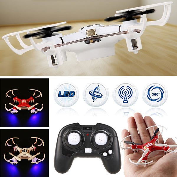 4 Channel Nano RC Quadcopter 2.4Ghz 4CH 4-Axis Headless LED Light Remote Control Mini Drone White Red