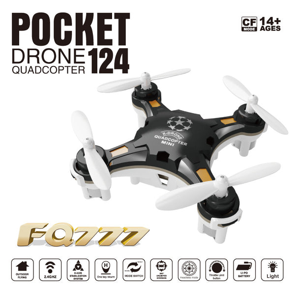 Free Shipping FQ777-124 Pocket Drone 4CH 6Axis Gyro Quadcopter With Switchable Controller RTF Helicopter Toys