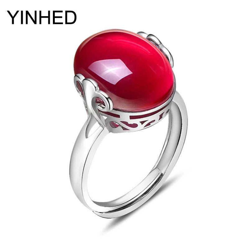 90% Off ! 925 Sterling Silver Ring with Natural Oval Red Corundum Ruby Ring Opening Ring Adjustable Size Rings for Women ZR5011