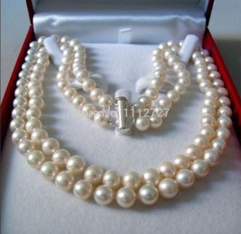 "2 Rows 8-9MM WHITE AKOYA SALTWATER PEARL NECKLACE 17-18"" beads jewelry making Natural Stone YE2091 Wholesale Price"