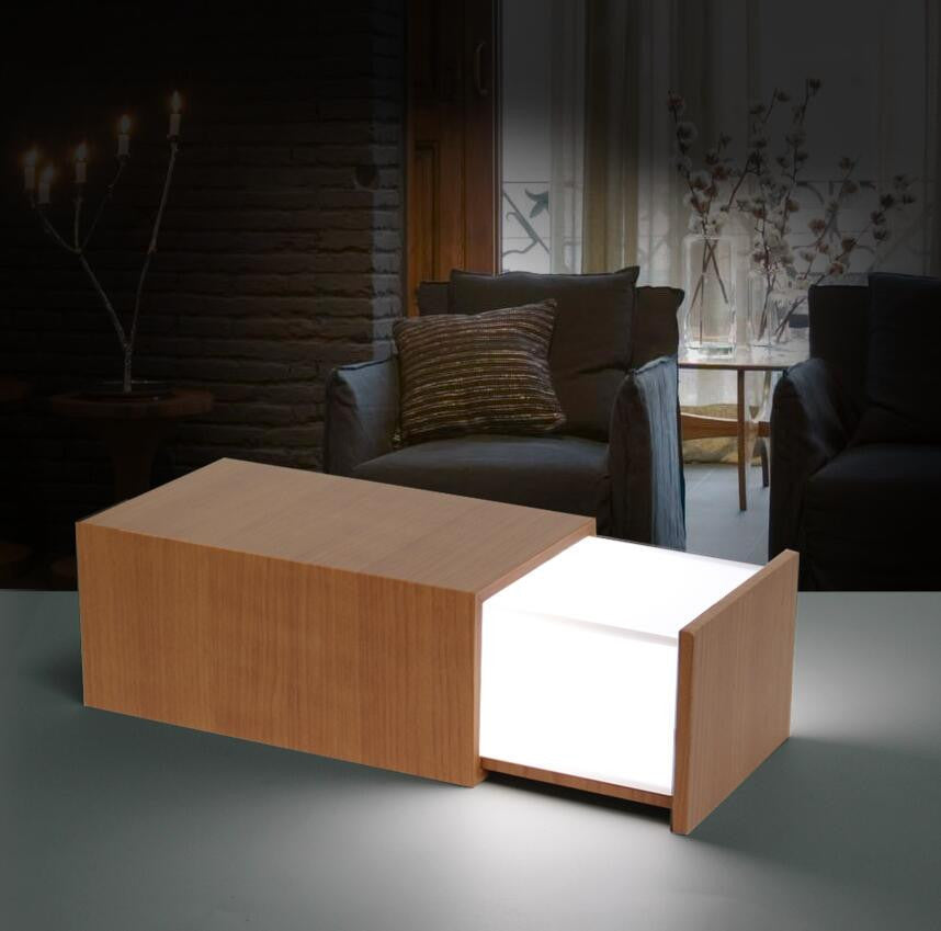 1 Piece Rechargeable Wooden Box Lamp With Bluetooth Speaker Magic USB Night Light,Free Shipping