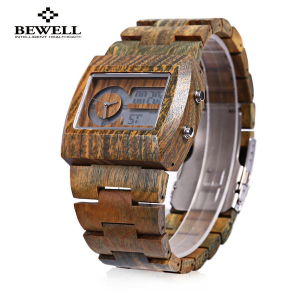 BEWELL Luxury Brand Men Watch Bamboo Wooden Quartz Watch Male Luminous Display Waterproof Wristwatches 2016