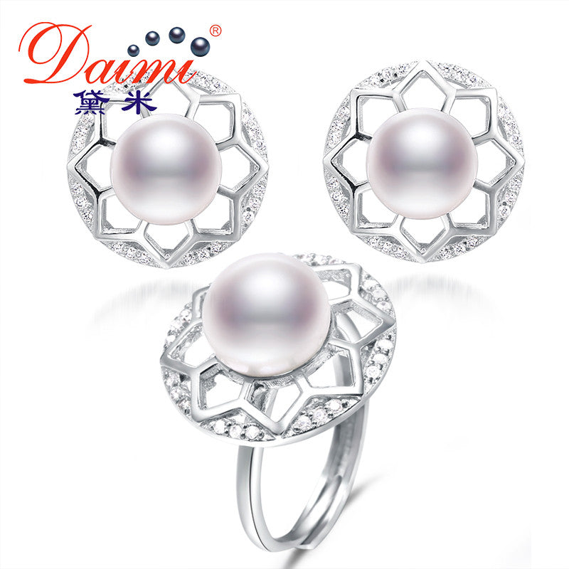 Daimi 9-10 / 10-11mm Big Natural Freshwater Pearl Sets, Luxury Flower Earrings Ring Pearl Sets, Jewelry Sets - SustainTheFuture.us - The Natural and Organic Way of Life