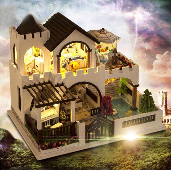 Assembling 3d puzzle  doll house miniatures love castle handmade diy dollhouse creative gift for lover adults girls