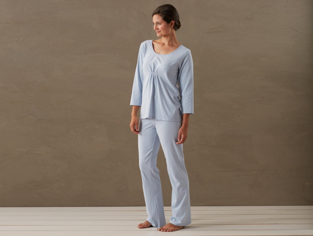 Women's Solstice PJ Set. Organic cotton jersey, peached for sublime softness.
