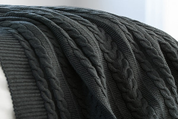 Cable Knit Throw - 100% GOTS-certified organic with eco-friendly, non-toxic dyes