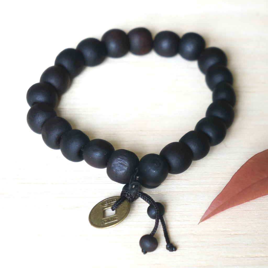 YOGA ZEN BRACELET - recycled waxed wood beads