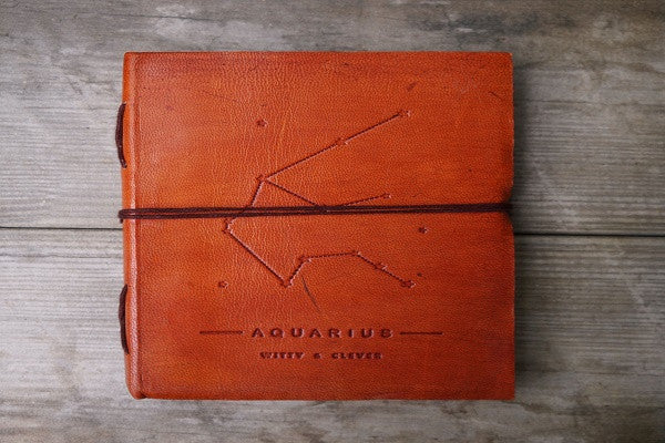 AQUARIUS ZODIAC HANDMADE LEATHER JOURNAL - SustainTheFuture.us - The Natural and Organic Way of Life