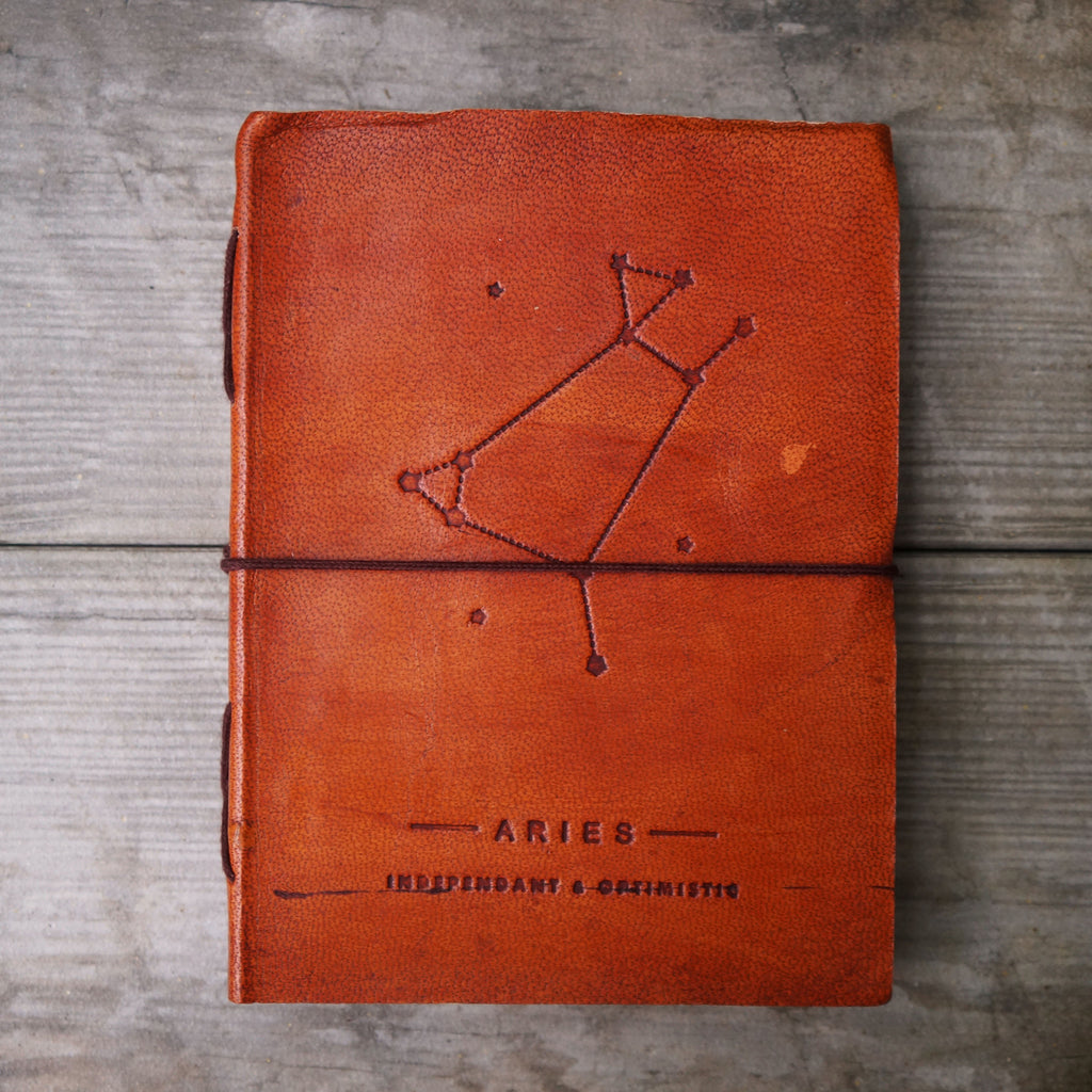 ARIES ZODIAC HANDMADE LEATHER JOURNAL - SustainTheFuture.us - The Natural and Organic Way of Life