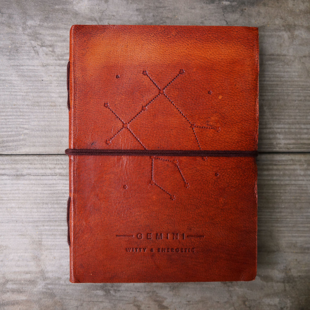 GEMINI ZODIAC HANDMADE LEATHER JOURNAL - SustainTheFuture.us - The Natural and Organic Way of Life