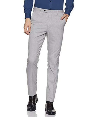 Arrow Men's Pleat-Front Regular Fit Formal Trousers (AFYOTR0035_Grey_34W x L)