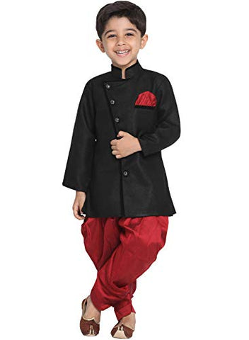 JBN Creation Boys' Black Cotton Blend Sherwani and Dhoti Pant Set (VASBSW120MA, for 12-18 Months)