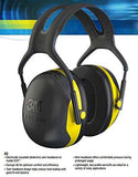 3M Peltor X2A X-Series Over-the-Head Earmuffs, Black and Yellow, Pack of 1-3M-Helmetdon