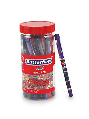Cello Butterflow Avenger Ball Pen (25 Pens Jar - Blue) | Ball pens with Avenger Superhero designs | Smooth Writing