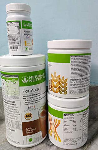 Herbalife Nutrition Weight Loss Package for Mula1 (Chocolate) with Personalized Protein Powder (PPP) with Active Fiber Complex and Afresh (Lemon)