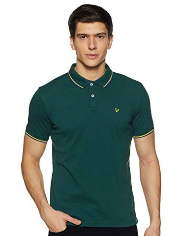 Allen Solly Men's Plain Regular fit T-Shirt (ASKPQRGFY97107_Light Green L)