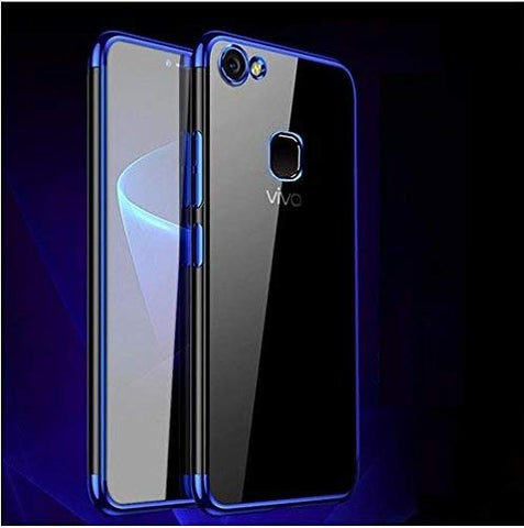 MobiTussion® 0.2mm Camera Protection Soft Transparent TPU Back Cover Case for Vivo V7 Plus [Blue]