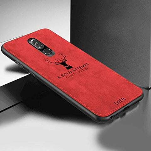 Navnika® Deer Cloth Canvas Texture Fabric Leather Case for Oppo F11 PPP (RED)