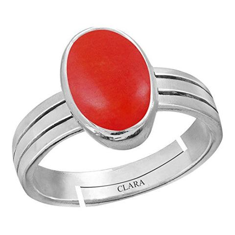 Clara Coral Moonga 8.3cts or 9.25ratti Stone 92.5 Sterling Silver Adjustable Ring for Men