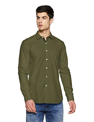 Allen Solly Men's Plain Slim Fit Casual Shirt (ASSFWMOFG80292_Olive_40)
