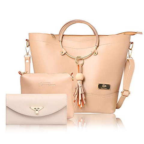 JFC Women's Shoulder Bag with Sling Bag (Set of 3) (ST-001CR-CLUTCH_Cream)