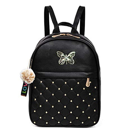 ShopyVid® Pu Leather PomPom Keychain Stylish and Trending New Design Women Backpack for College Office Bag Girls Handbag Purse (Black Buterfly Bag)