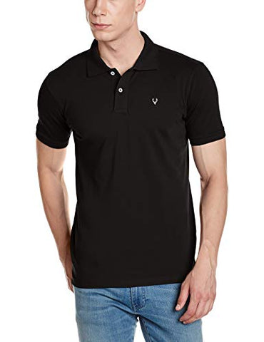 Allen Solly Men's Plain Regular Fit Cotton Polo (AMKP317G04249_Jet Black_Medium)