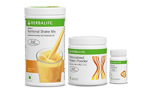 Herbalife Formula 1 Nutritional Shake Mix (Orange) With Personalized Protein Powder and Afresh Energy Drink Mix- Ginger