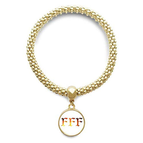 DIYthinker Flame Pattern FFF Golden Bracelet Round Pendant Jewelry Chain
