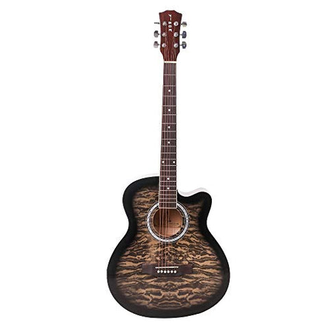 ARCTIC Vigor Acoustic Guitar package with 40 inches folk steel string Guitar Curved shape with Bag, Capo & Picks (Black)