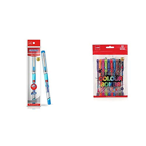 Cello Butterflow Ball Pen Set (Pack Of 10 Pens - Blue) | Ball Pens With Premium Look For Comfortable & Cello Colour Bombs - 10Pc Coloured Ink Gel Pens
