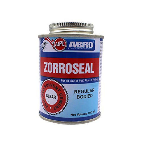 ABRO ZS10P-100-T ZORROSEAL Solvent Cement for PVC Pipes & Fittings Fast Setting Liquid Adhesive for Plumbing & Sewage Systems (100ml)