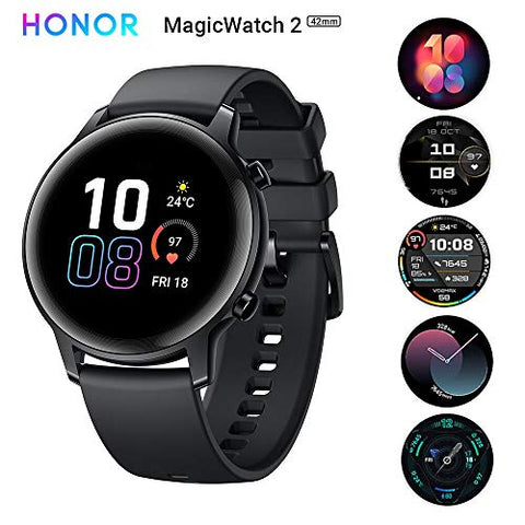 HONOR Magic Watch 2 (42 mm, Agate Black) Always On AMOLED Display, SpO2, 15 Workout Modes, Music Playback & In-Built Storage, Female Cycle & Sleep & HR Monitor, Personalized Watch Face, 7-Days Battery