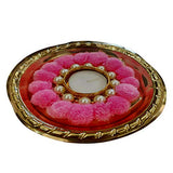 Idhyah Handmade Beautiful Rose Pom Pom Light Diya Candle Holder for Diwali Decoration & Home Decoration